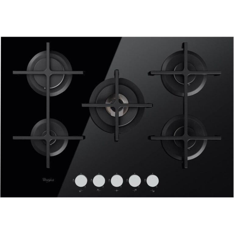Plita incorporabila Whirlpool GOF 7523TB Cristal, Gaz, 5 Arzatoare, Sticla Neagra