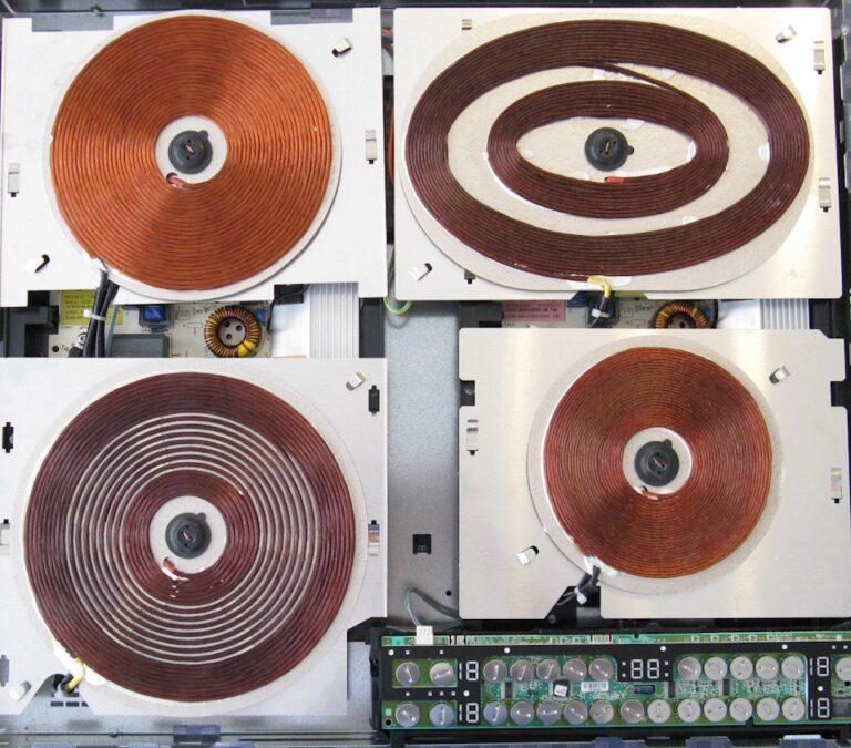 Interior plita inductie, bobinele de inductie