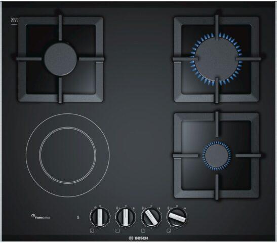 Plita incorporabila Bosch PSY6A6B20, Vitroceramica mixta, 3 arzatoare, 1 zona de gatit, Gratare fonta, Negru
